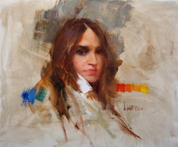 MICHELLE DUNAWAY oil on canvas 20x16 by Richard Schmid